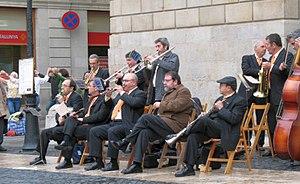 """Cobla - """"Cobla Baix Llobregat"""" playing in front of the Palau de la Generalitat in Barcelona"""