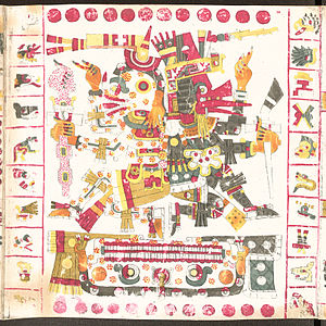 Aztec mythology - Mictlantecuhtli (left), god of death, the lord of the Underworld and Quetzalcoatl (right), god of wisdom, life, knowledge, morning star, patron of the winds and light, the lord of the West. Together they symbolize life and death.