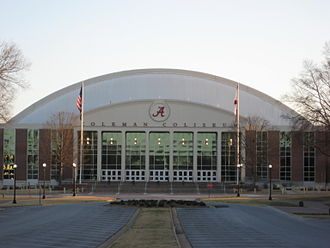 Alabama Crimson Tide men's basketball - Front view of Coleman Coliseum
