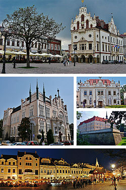 Sights of Rzeszow, Top:Ratusz Rzeszów (Rzeszow City Hall) in Market Square, Middle left:Oszczednosdowa Palace (Regional Financial Center), Middle Upper right:Siemiaszkowa Theater, Middle lower right:Zamek Lubomirskich Castle, Bottom:Night view of Rzeszów Market Square