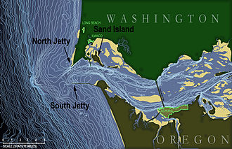 Columbia Bar - Bathymetric map of the Columbia River mouth:  isobaths at five-foot intervals, 15-310 feet.  Sandbars in yellow.