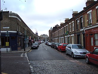 Columbia Road Flower Market - Columbia Road on a weekday morning. Looking west towards Shoreditch