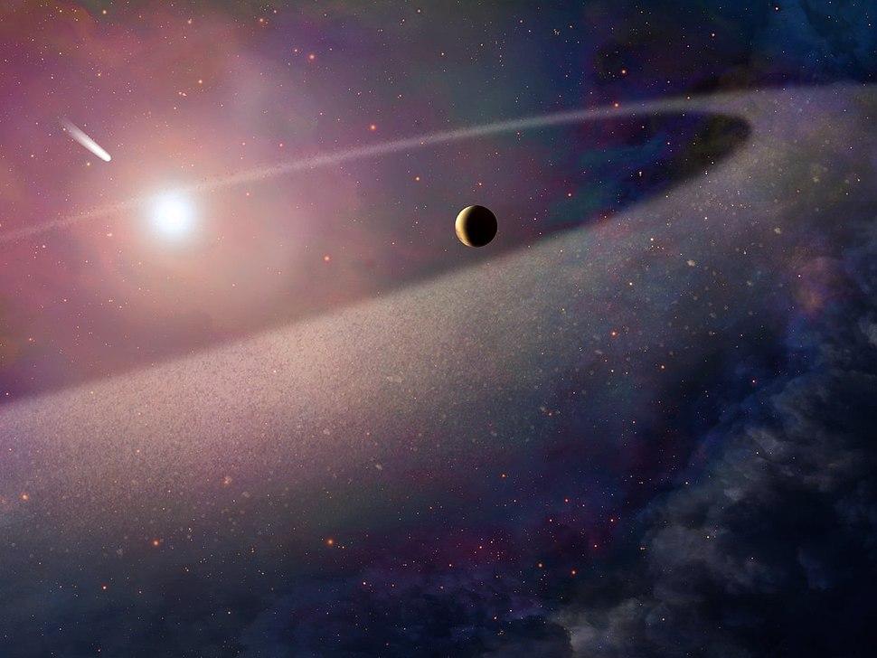 Comet falling into white dwarf (artist's impression)