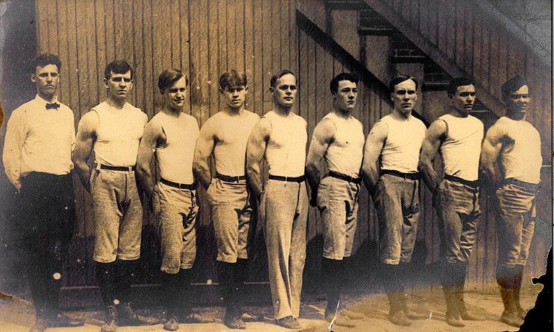 File:Concordia Turnverein Gymnastic Team, International Turnfest, Frankfurt, Germany, June 1908. (George Eyser, center).jpg
