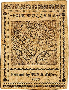 Continental Currency $4 banknote reverse (February 26, 1777).jpg