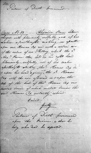 Alexander Pearce - Copy of the death sentence pronounced on Alexander Pearce