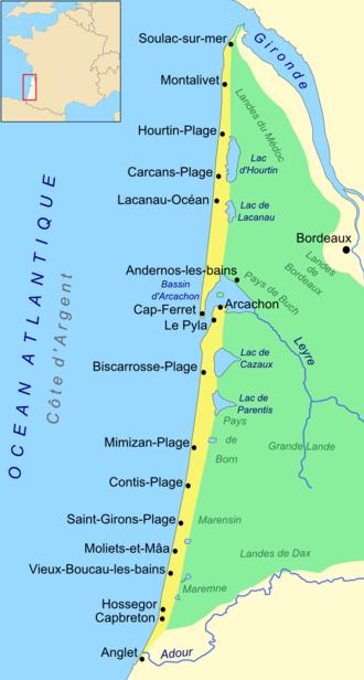 Côte d'Argent - Map of the Côte d'Argent