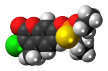 Space-filling model of the coumaphos molecule