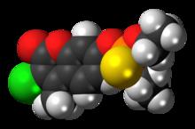 Spac-satiga modelo de la koumafosmolekulo