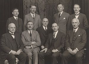 Forest Hill, Toronto - Village of Forest Hill Council, 1929. Back row, from left to right: L.W. Archer, Clerk and Treasurer; Melville Grant, Solicitor; R.E. Grass, Councillor; James H. Lowry, Commissioner of Works. Front row, from left to right: Hugh E. Ferguson, M.D.; A.H. Keith Russell, Reeve; Charles McKay, Councillor; Andrew Hazlett, Councillor; and Brig. Gen. G.S. Cartwright, Deputy Reeve.