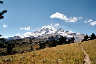 Wonderland Trail - The Cowlitz Divide portion of the trail, in the southeastern portion of the park,  offers many views of Mt. Rainier and its numerous glaciers.
