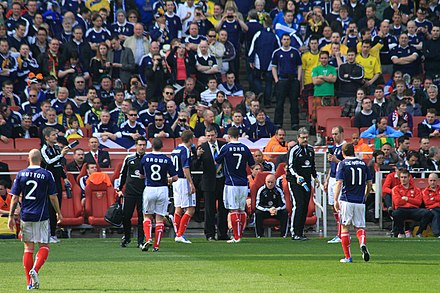 Scotland national football team in competition against Brazil, 2011 Craig Levein issues instructions (5575660382).jpg