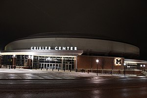 Crisler Center at Night, University of Michigan, Ann Arbor, Michigan.JPG