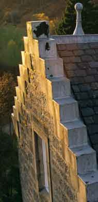 Crow-stepped gable - Crow steps on a Scottish Baronial building