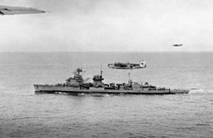 German cruiser Nürnberg - Nürnberg underway in May 1945, escorted by RAF Coastal Command Liberator maritime patrol bombers
