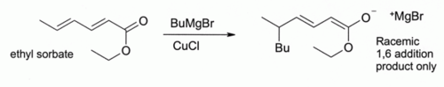 (Alkylation of sorbate ester at 4-position mediated by CuCl)