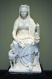 Cybele with her attributes, (Getty Museum), a Roman marble, c. 50 AD