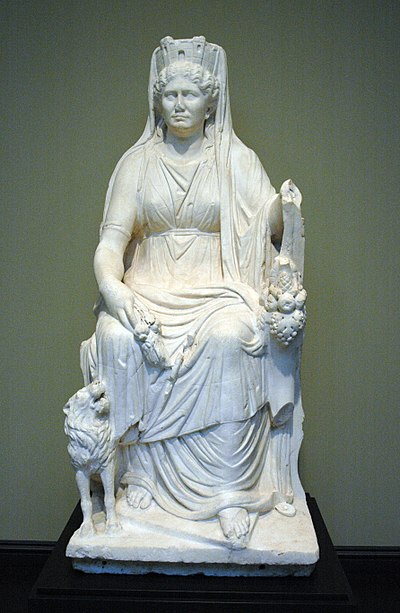 Cybele, a Phrygian mother Goddess, enthroned, with lion, cornucopia and Mural crown. Cybele Getty Villa 57.AA.19.jpg