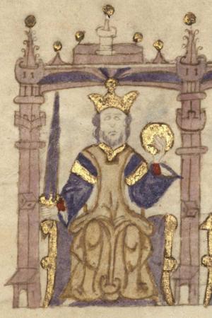 Sancho I of Portugal - King Sancho in Compendio de crónicas de reyes del Antiguo Testamento, gentiles, cónsules y emperadores romanos, reyes godos y de los reinos de Castilla, Aragón, Navarra y Portugal (c. 1312-1325)