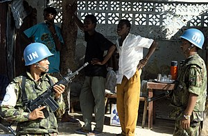 IMI Galil - A Nepalese peacekeeper with the 7.62mm Galil SAR.