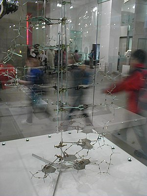 James Watson - DNA model built by Crick and Watson in 1953, on display in the Science Museum, London.
