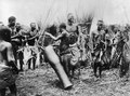 Dans i en batwaby. Pojken i förgrunden slår på en stor trumma. Bangweulusjön. Zambia - SMVK - 000487.tif