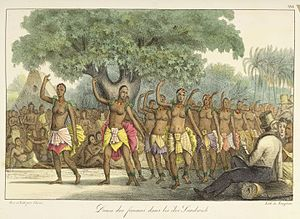 Polynesians - Female dancers of the Hawaii Islands depicted by Louis Choris, c. 1816