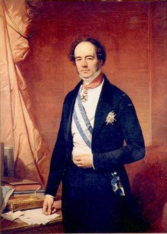 Order of Charles III - Portrait of Barthélémy de Theux de Meylandt wearing the Grand Cross, including blue and white sash of the Order.