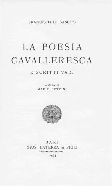 File:De Sanctis, Francesco – La poesia cavalleresca e scritti vari, 1954 – BEIC 1801106.djvu