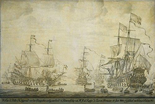De krijgsraad aan boord van de 'De Zeven Provinciën', het admiraalschip van Michiel Adriaensz de Ruyter, 10 juni 1666 (Willem van de Velde I, 1693).jpg