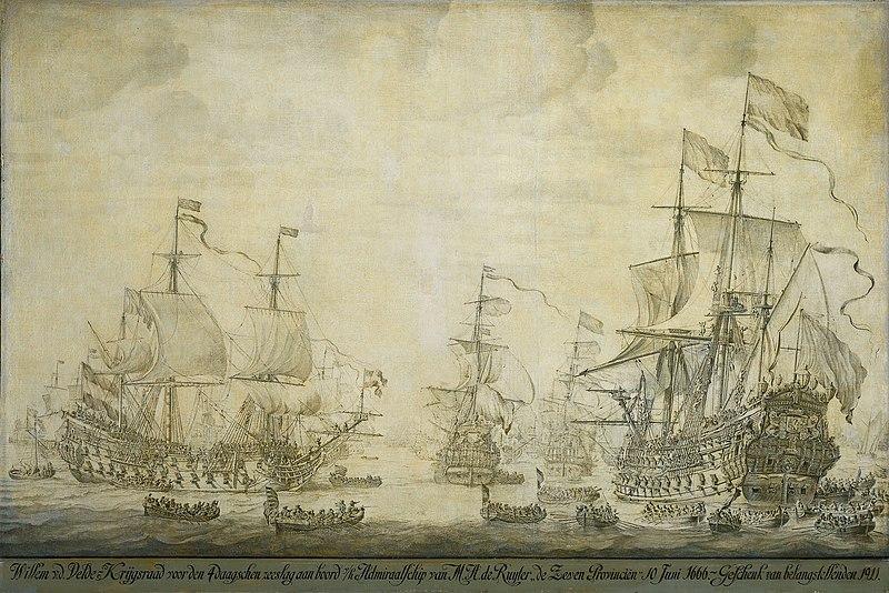 File:De krijgsraad aan boord van de 'De Zeven Provinciën', het admiraalschip van Michiel Adriaensz de Ruyter, 10 juni 1666 (Willem van de Velde I, 1693).jpg