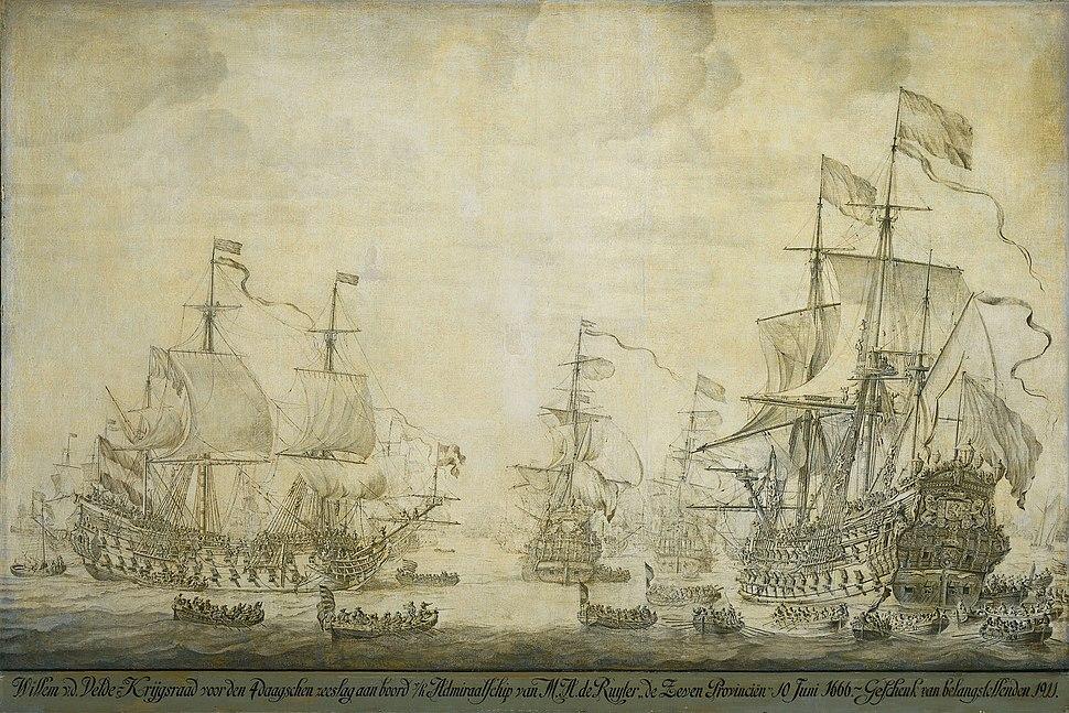 De krijgsraad aan boord van de 'De Zeven Provinciën', het admiraalschip van Michiel Adriaensz de Ruyter, 10 juni 1666 (Willem van de Velde I, 1693)