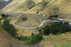 U.S. Route 99 in California - A section of the 1915 Ridge Route in Lebec, California, abandoned when U.S. 99 (Ridge Route Alternate) opened over Tejon Pass in 1933