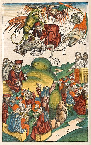 Simon Magus - The death of Simon Magus, from the Nuremberg Chronicle