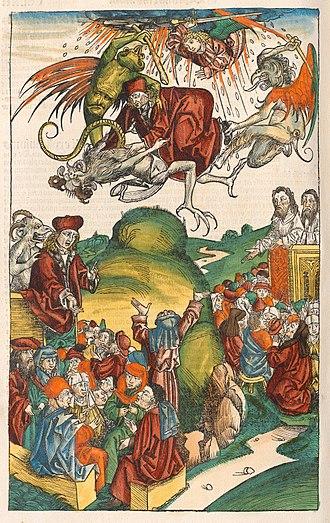 Simon Magus - The death of Simon Magus, from the Nuremberg Chronicle