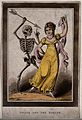 Death points an arrow at a female dancer. Aquatint by J. Gle Wellcome V0042204EL.jpg
