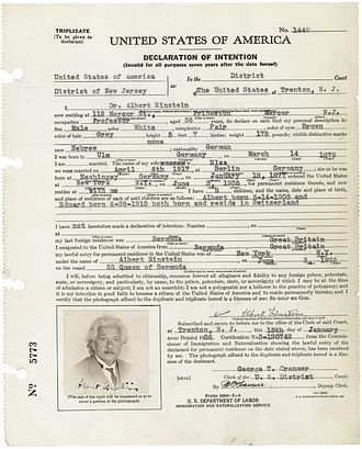 Naturalization Act of 1795 - Declaration of Intention for Albert Einstein.