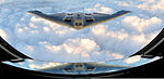 Defense.gov News Photo 110909-F-QH266-280 - A B-2 Spirit bomber from the 509th Bomb Wing, Whiteman Air Force Base, Mo., approaches a tanker as both aircraft fly over Kansas on Sept. 9, 2011.jpg
