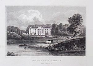 Beaumont College - 18th-century view of Beaumont Lodge – placed closer to the river Thames than it now is, whether because the river has moved or by artistic licence