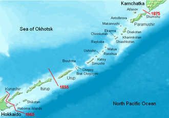 Kuril Islands dispute - The Kuril Islands with Russian names.  Borders of Shimoda Treaty (1855) and Treaty of St. Petersburg (1875) shown in red. Currently all islands northeast of Hokkaido are administered by Russia.