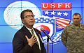 Deputy Secretary of Defense Ashton B. Carter talks to U.S. and South Korean soldiers assigned to the Joint Operations Center of Command Post Tango near Seoul, South Korea, on March 18, 2013 130318-D-NI589-1463.jpg