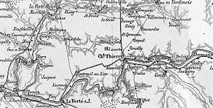 Battle of Gué-à-Tresmes - Map of the battle area shows Gué-à-Tresmes at left and Meaux (not labeled) on the Marne River at the lower left map edge. Kleist was driven back toward La Ferté-Milon at top left.