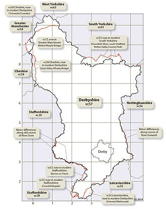 Vice-county - Map showing detailed differences between Derbyshire vice-county (VC57) and the modern administrative county of Derbyshire, England.