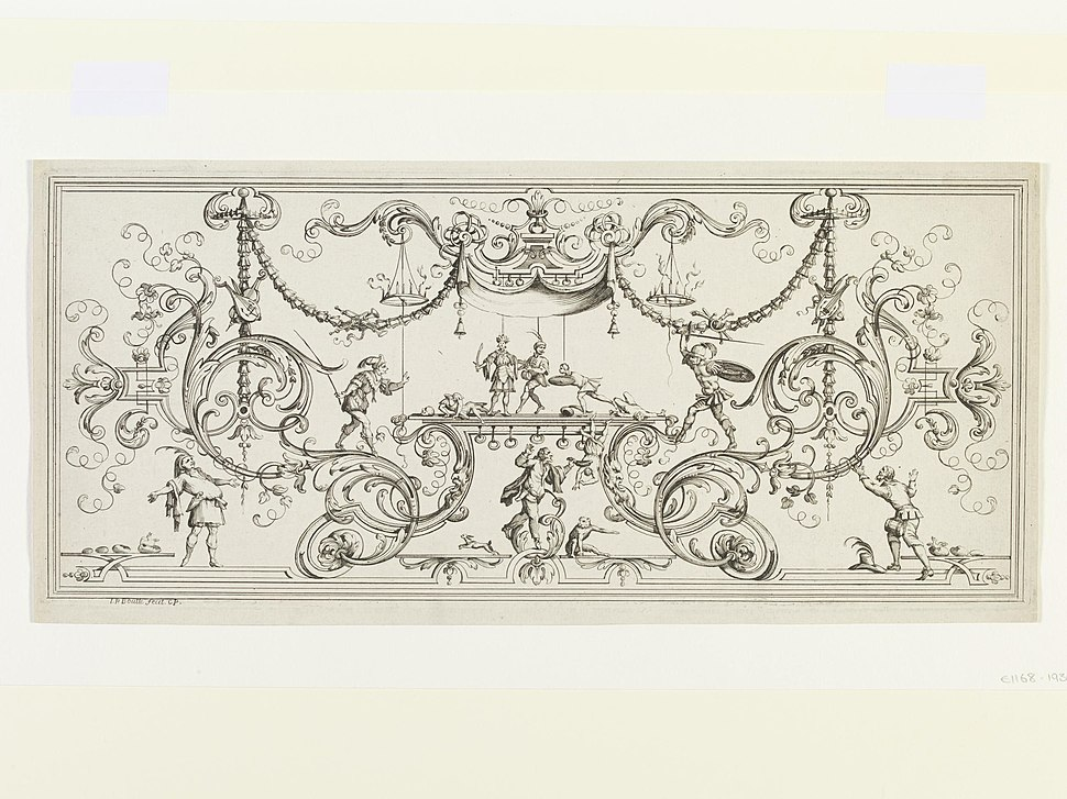 Design for a marquetry panel by Boulle, Jean-Philippe etching with some engraving E.1168-1936 Prints %26 Drawings Study Room, level C, case 2, shelf H, box 6