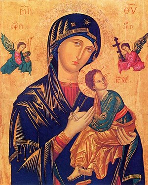 Cretan School - Our Lady of Perpetual Help, probably an early Cretan work of 13th or 14th century.