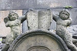John Frederick Lampe - Detail from the grave of John Frederick Lampe, Canongate Kirkyard