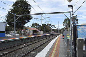 Diamond Creek railway station - Northbound view from platform 2 in August 2014