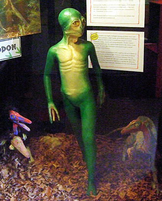 Humanoid - A model of the hypothetical Dinosauroid, Dinosaur Museum, Dorchester, UK