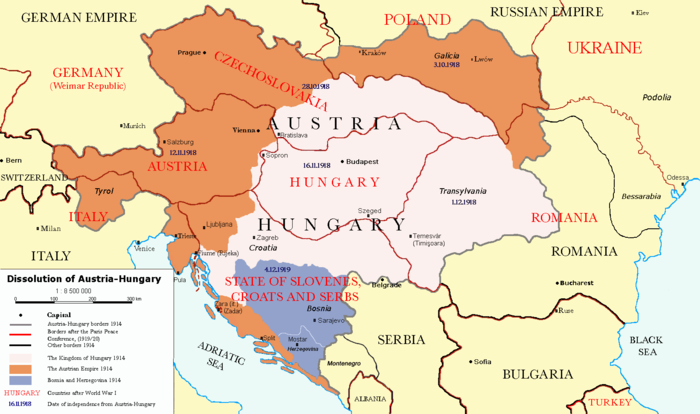New borders of Austria-Hungary after the Treaty of Trianon and Saint Germain Border of Austria-Hungary in 1914 Borders in 1914 Borders in 1920 Empire of Austria in 1914 Kingdom of Hungary in 1914 Bosnia and Herzegovina in 1914 Dissolution of Austria-Hungary.png