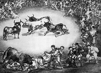 La Tauromaquia - Spanish entertainment, 1825, lithograph, 30 × 41 εκ., Madrid, National Library. In this work from The Bulls of Bordeaux series, Goya presents bullfighting as a way of popular entertainment, and not as a violent event, as he does in Tauromaquia.